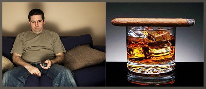 Алкогольная и никотиновая зависимости, сидячий образ жизни