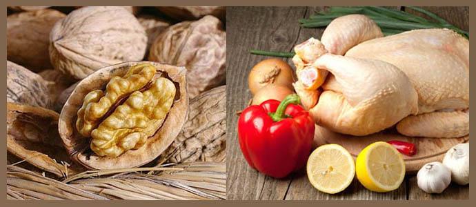 Грецкие орехи, мясо птицы