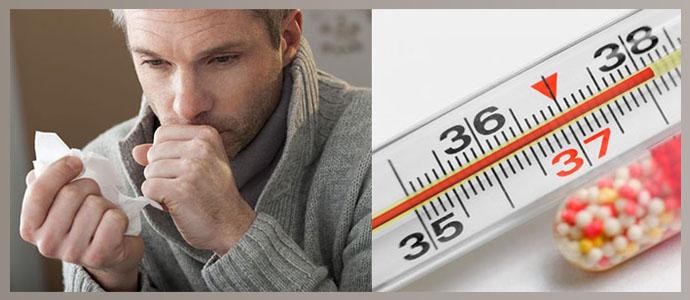 Кашель, повышение температуры тела