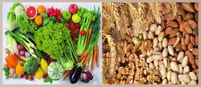 Орехи, пророщенные злаки, овощи, фрукты