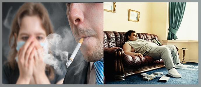 Малоподвижный образ жизни, активное и пассивное курение