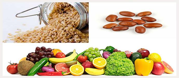 Рис, фасоль, фрукты