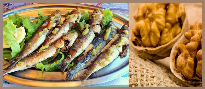 Сардины, грецкие орехи
