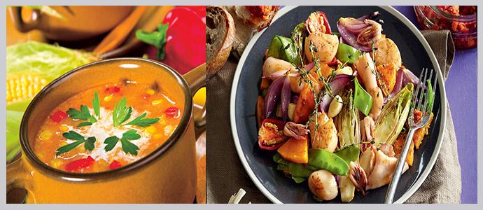 Вегетарианские супы, морепродукты