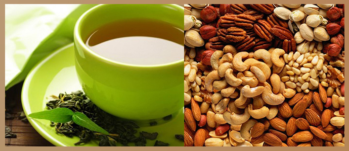 Зеленый чай, орехи